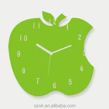 hijau akrilik desain buatan tangan elegan bentuk apel jam dinding pabrik  pembuatan c6c108a567
