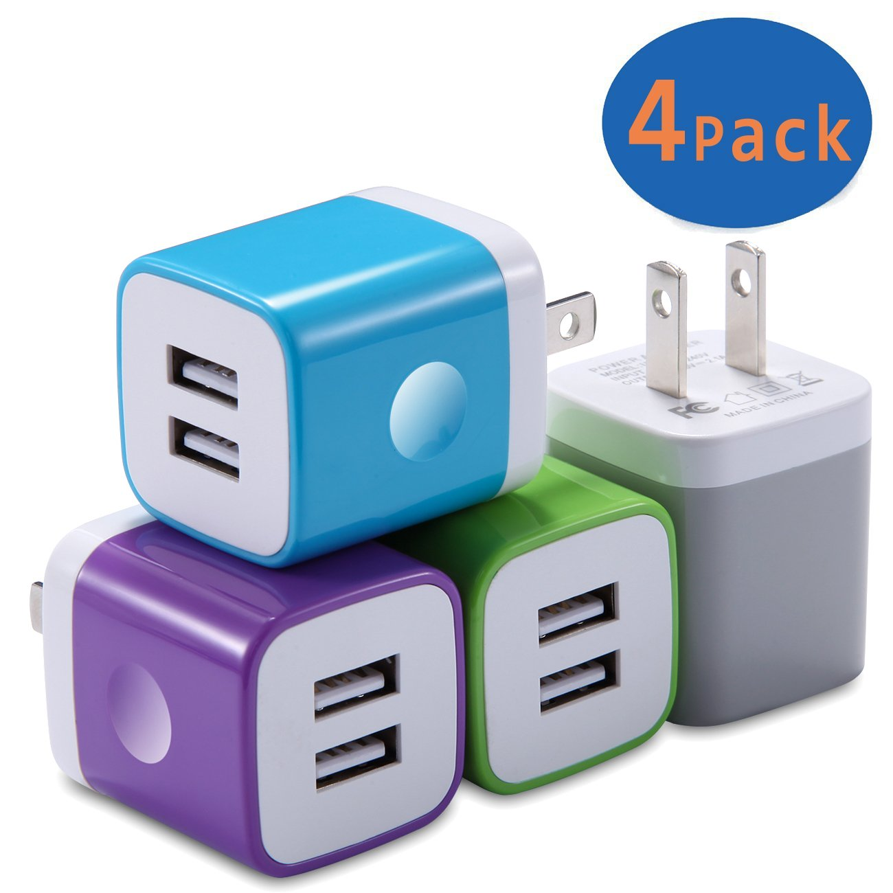 USB Wall Charger, Charging Block X-EDITION 4-Pack 2.1A Dual Port USB Power Adapter Wall Charger Plug Cube for iPhone X/8/7/6 Plus, iPad, Samsung Galaxy S8 S7 S6 Edge, LG, ZTE, Moto, AndroidMore