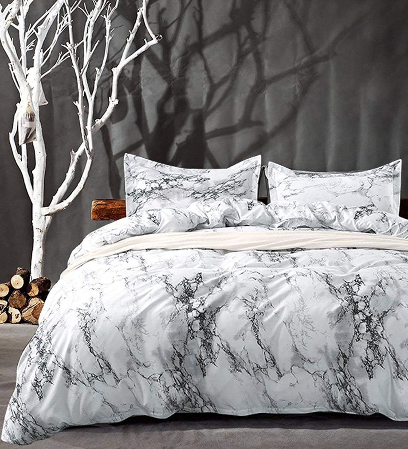 Brief Marble Lines Bedding Set Single Full Queen King 4 Size Duvet Cover With Pillowcase Set (Size : King(3Pcs/Set))