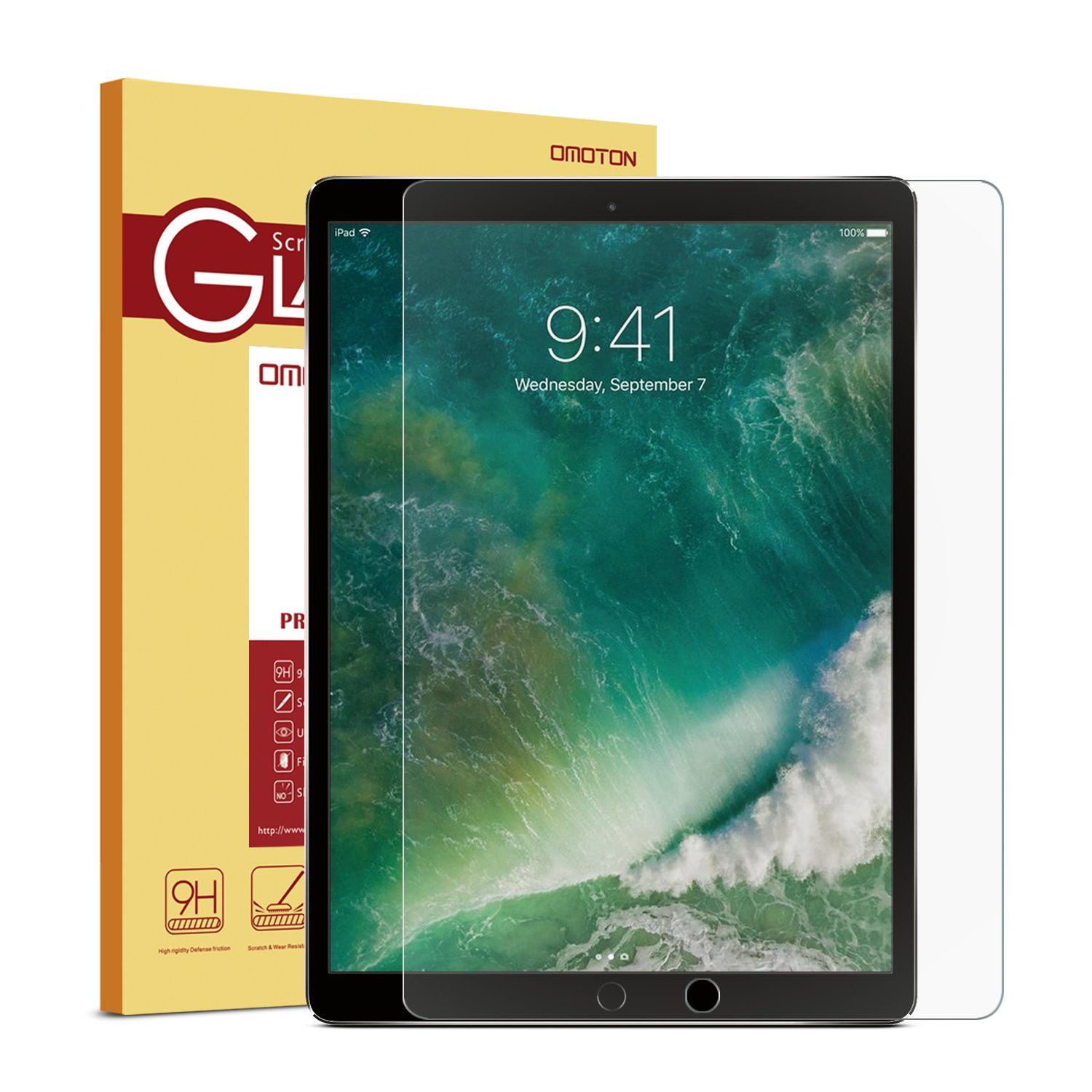 New iPad Pro 12.9 Screen Protector, OMOTON Tempered Glass Screen Protector with [High Responsivity] [High Definiton] [Bubble Free] for Apple iPad Pro 12.9 inch (2017 and 2015 version)