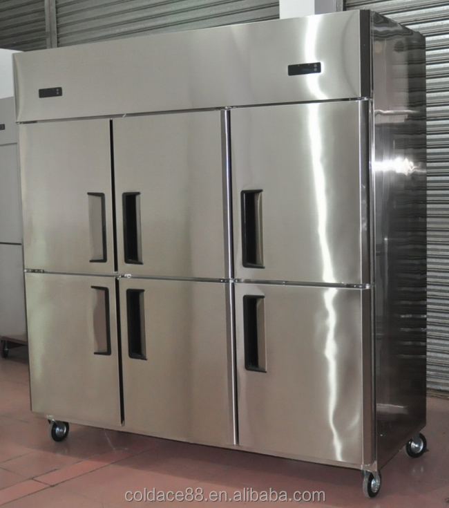 6 doors upright solid stainless steel kitchen fridge with CE certificate