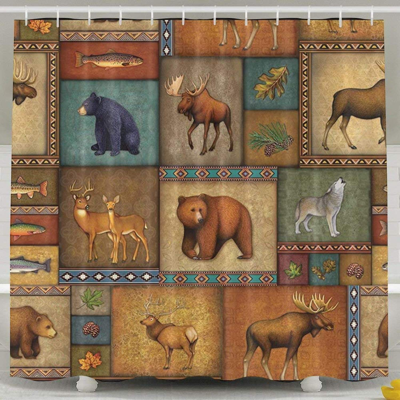 Rustic Wildlife Bear Deer Moose Wolf 150 X 180 cm Bath Curtain Waterproof Polyester Fabric Bathroom Shower Curtain Decor Set with Hook
