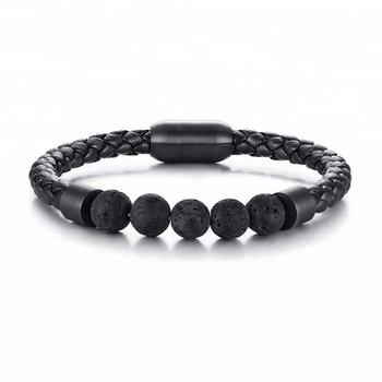 New Design Black Stainless Steel Elegant Lava Bead Fashion Custom Leather Bracelet Men Mexico For And Boy Wrap