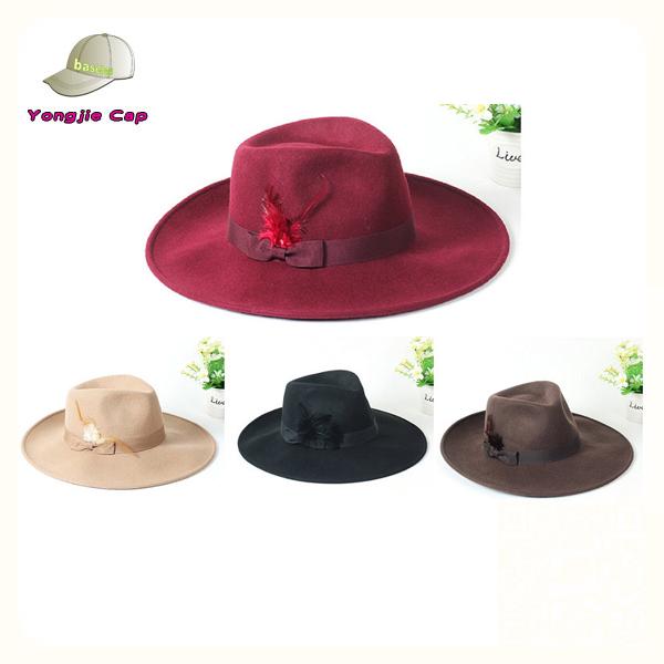 5008a5f2f0a Feather Ribbon Wide Brim Wool Felt Hat Blank Wholesale Men Fedora ...