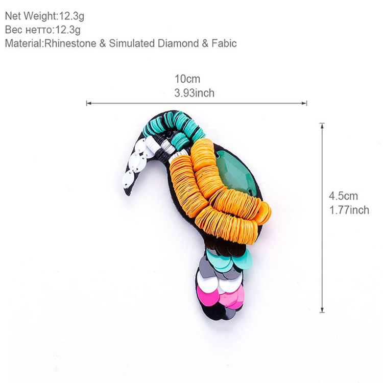 XB006 2018 New Design Women Costume Jewelry Beautiful Acrylic Sequins Sale Animal Woodpecker Bird Brooch