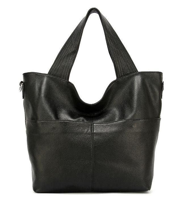 84aa171a36b2 lady handbag OEM professional fashion genuine leather large black tote bag  for wholesale