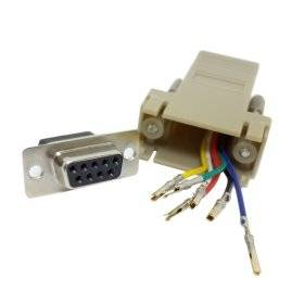 CY RS232 D-Sub 9pin Female Extender To Lan Cat5 Cat5e RJ45 Ethernet Female Adapter Beige Color