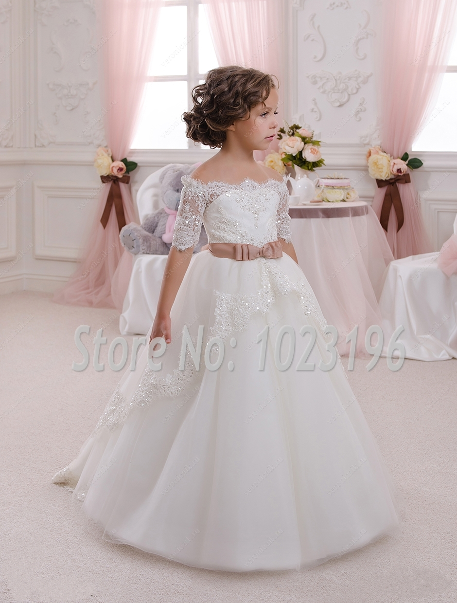 2016 New Hot White Ivory Lace Flower Girls Dresses With ...
