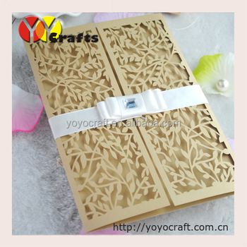 Handmade Arabic Wedding Invitation Cards Champagne Gold Laser Cut