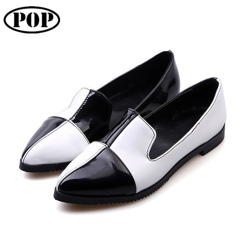 Plus Size 34-46 Fashion Women Flat Shoes 2015 Autumn Pointed Toe Shoes For Women Black White Patchwork Zipper Casual Women Flats