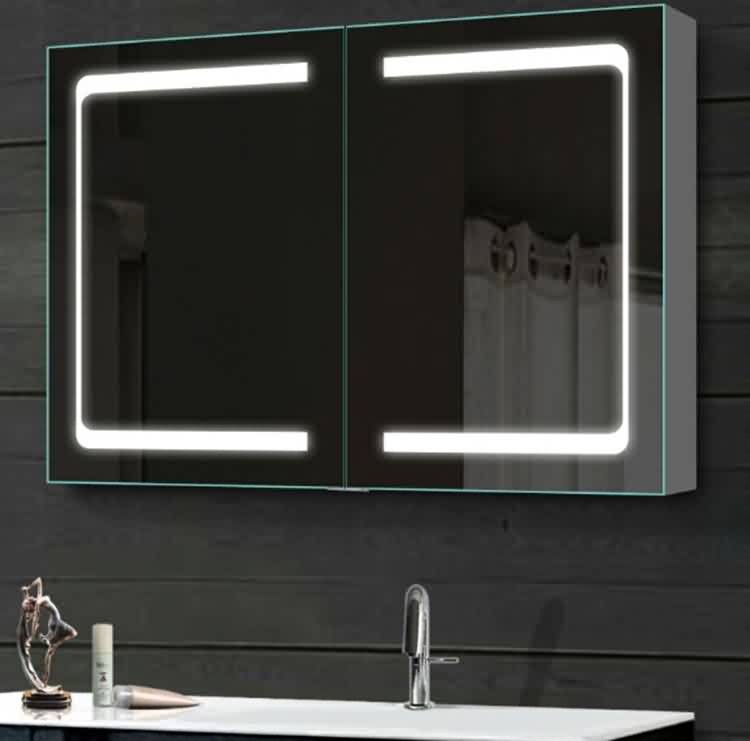 Norhs High quality soft cloing hinge double door wall mounted led mirrored medicine cabinet for bathroom vanities