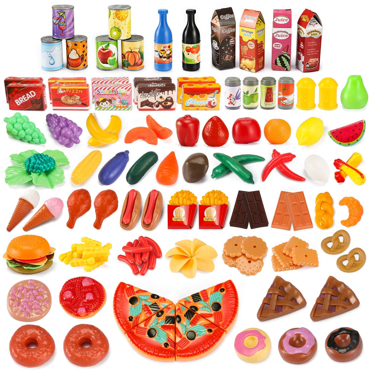 Get Quotations Uneede Play Food Set Kids Kitchen Toy Pretend Toddler Kid 139 Pcs