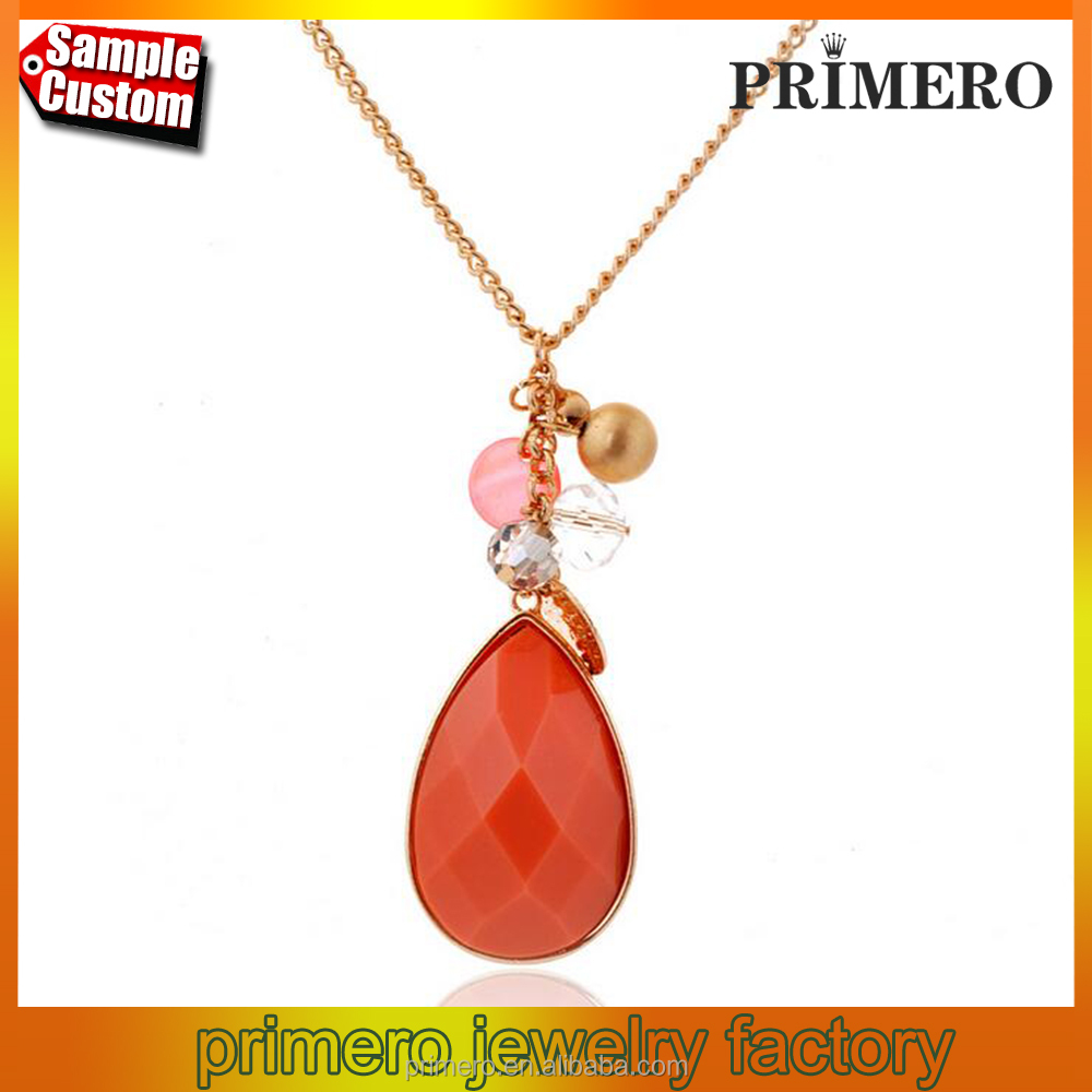 Fashion Women's Water Drop Natural Stone Quartz Orange Crystal Gem 18K Gold Necklace