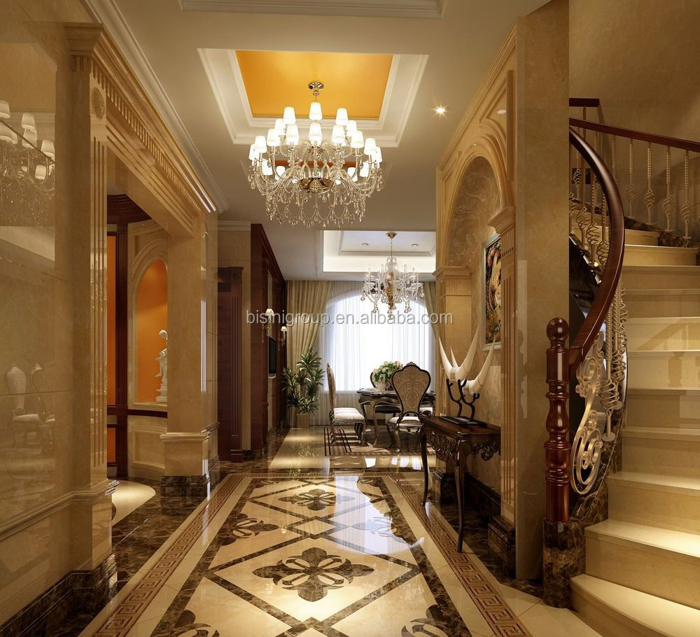Model Luxury Home Interiors: Classical 3d Rendering For American Style Villa Entrance