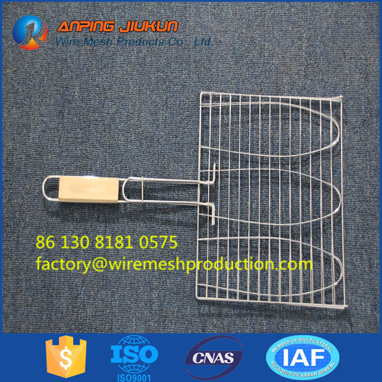 Low Price Wooden Handle Bbq Grill Wire Mesh