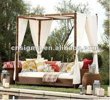 2018 Trade Assurance most popular outdoor furniture pe rattan wicker sun deck lounge