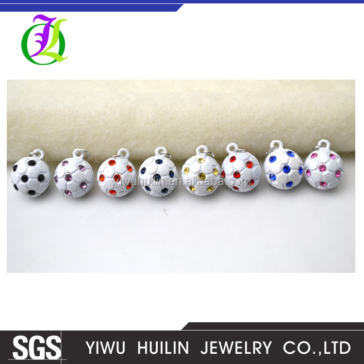 B00001 Yiwu Huilin jewelry Football charms multicolor Crystal ornament 3D soccer pendant Soccer ball pendants charms