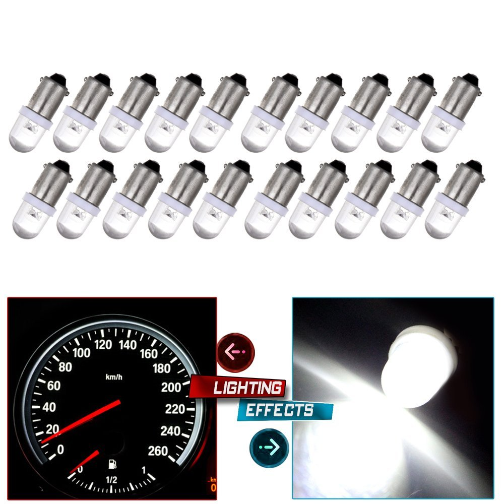 CCIYU 20 Pack Xenon White BA9S LED Lamp Instrument Cluster Gauge Dash Light Bulbs Bayonet For Dashboard Gauge Speedometer Odometer Map light 53 53X 57 216 293 363 3886X