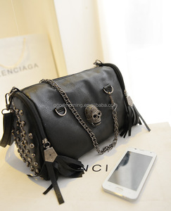 Personalized Skull Pendant rivet Black Vintage Leather Tassel Bag
