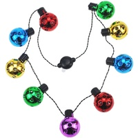 Christmas LED Disco Necklace Light Up Holiday Accessories Party Favors 9 LED Disco Lights