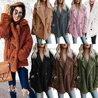 MY-288 2019 Fashion women casual cashmere pattern softshell jacket turn down collar faux fur coat ladies winter warm outwear