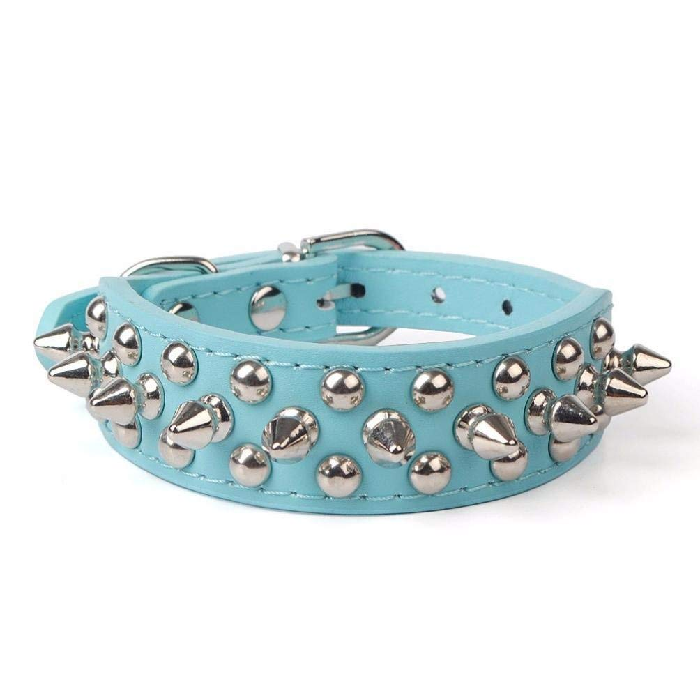Pet collar,Pikolai Adjustable PU Leather Rivet Spiked Studded Pet Puppy Dog Collar Neck Strap (L: 2.5cm51cm, Blue)