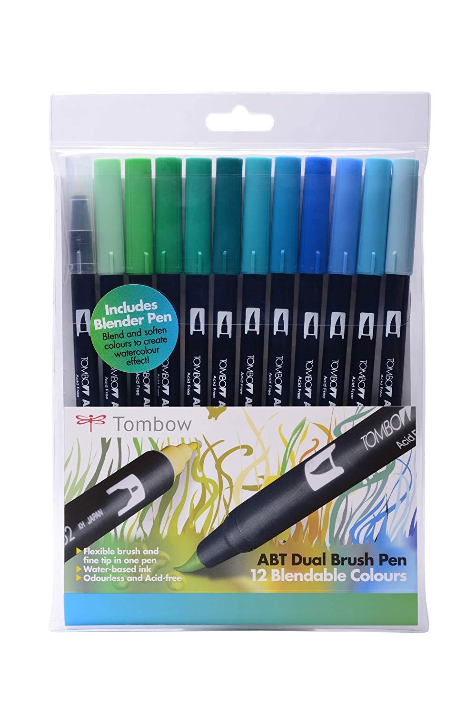 Tombow Dual Brush Pens Ocean - Pack of 12 Colors (ABT-12C-4)
