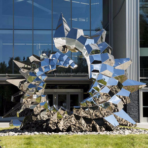 Mirror polished metal stainless steel sculpture abstract for garden outdoor