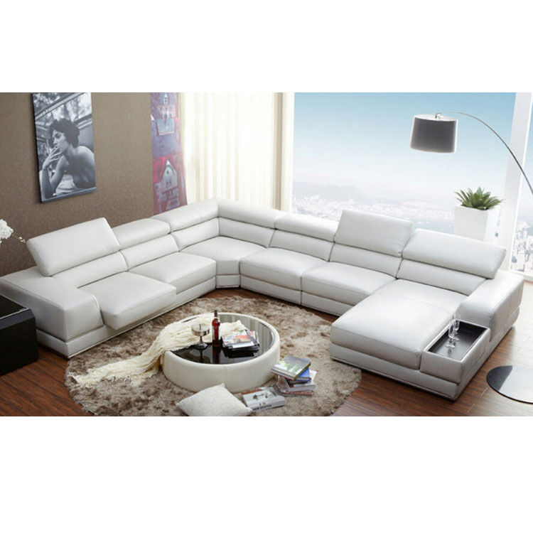 Luxury Sofa Set 7 Seater Sectional U Shape Adjule Headrest Italian Leather Sofas