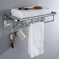 High Quality Stainless Steel 304 Bathroom Accessories Bath Folding Towel Shelf Towel Rack Wall Mounted