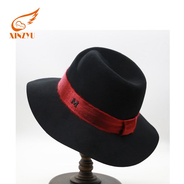 518e0b21 Custom Fedora Austria Wool Felt Hat Black With Red Band Fedora Hat For Man