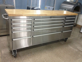 Lovely 72u0026quot; Stainless Steel Heavy Duty Garage Work Table With 15 Drawers/wheels /wooden
