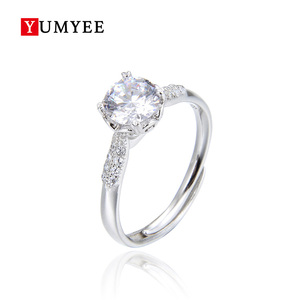 Fashion Zircon Stone Gold Plated Marriage 925 Sterling Silver Jewelry Ring