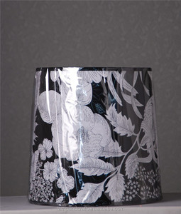 Mass production hospitality wholesale cheap high quality artistic black lampshade lining white with flower pattern