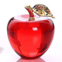Crystal glass apple with golden metal leave of clear red blue pink color for home/wedding/christmas decoration