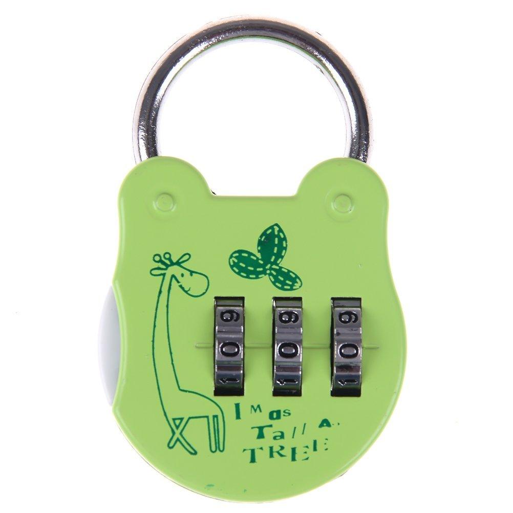 YUYUE Security Padlock 3 Digit Combination Lock with Cartoon Pattern Mini Password Padlock for Bag, Luggage, School Gym Locker (Green)