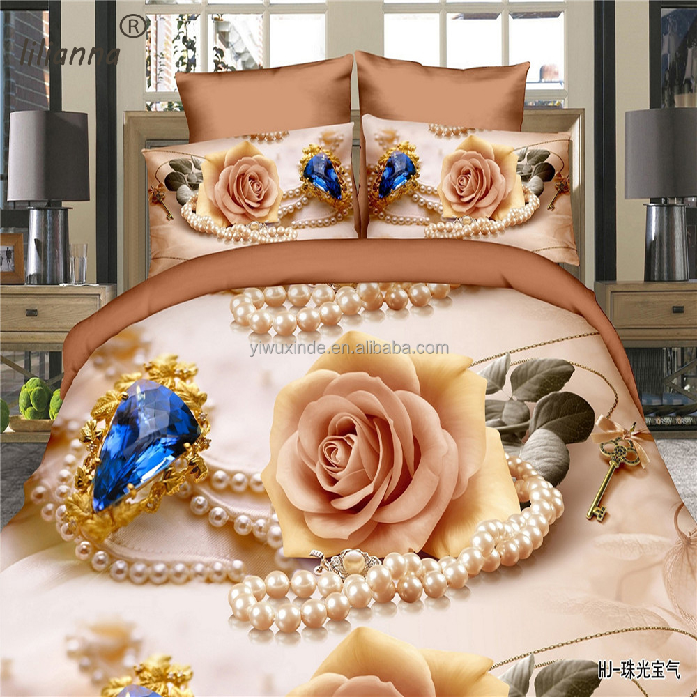 2016 LILIANNA diamond flower and pearl 3d bedding sets good sale Chinese Yiwu bedding sets