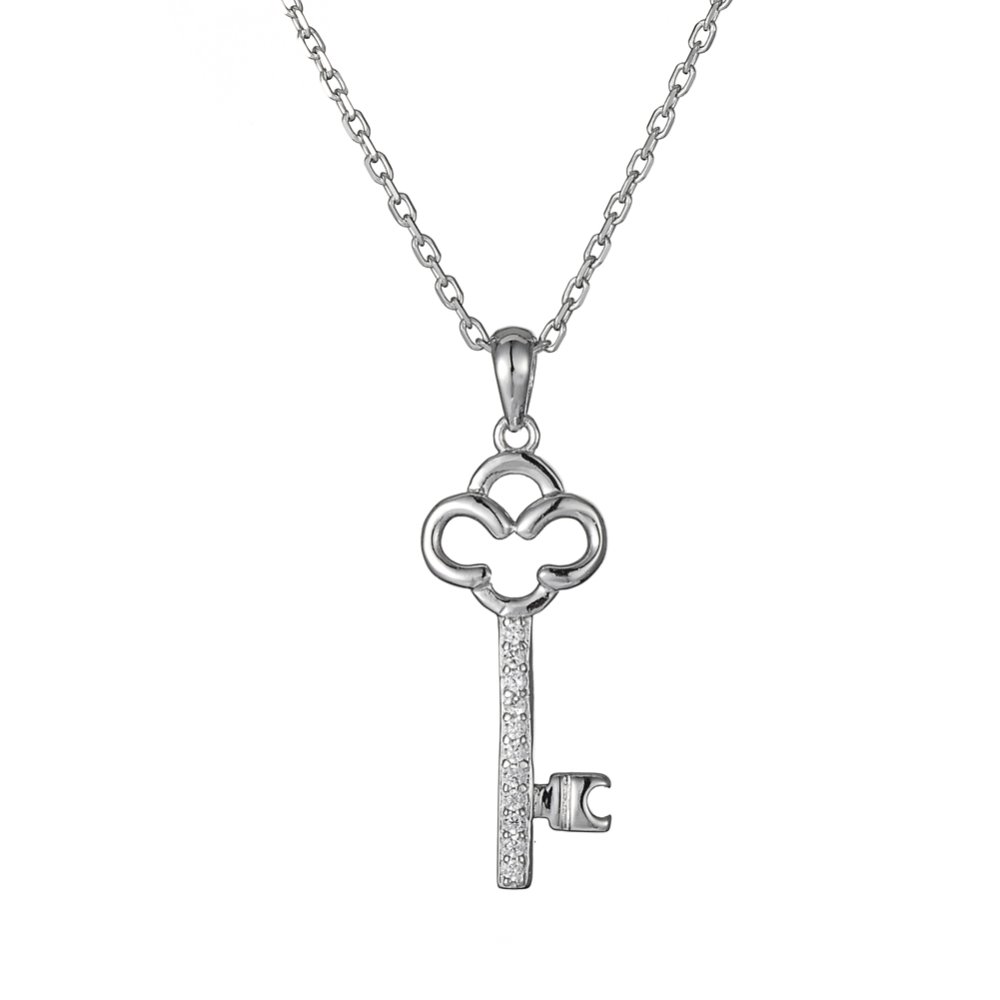 Women jewelry 925 sterling silver pave CZ crown key pendant necklaces 18in