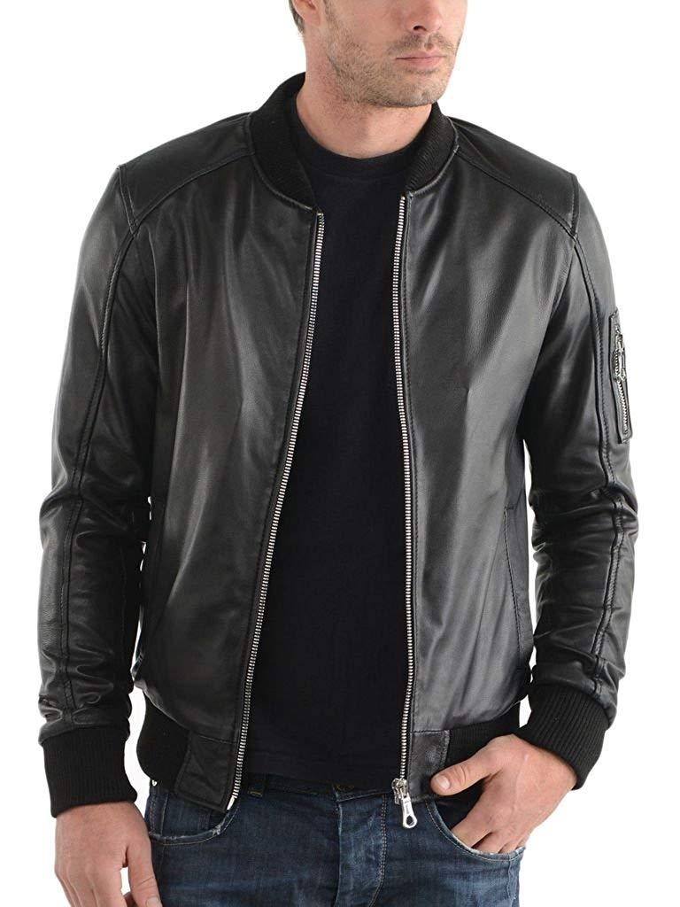 Leather Planet Mens Lambskin Leather Bomber Biker Jacket