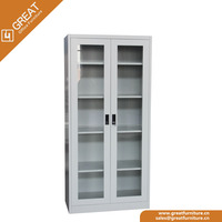 Professional production storage A4 document swing 2 glass door metal steel file cabinet