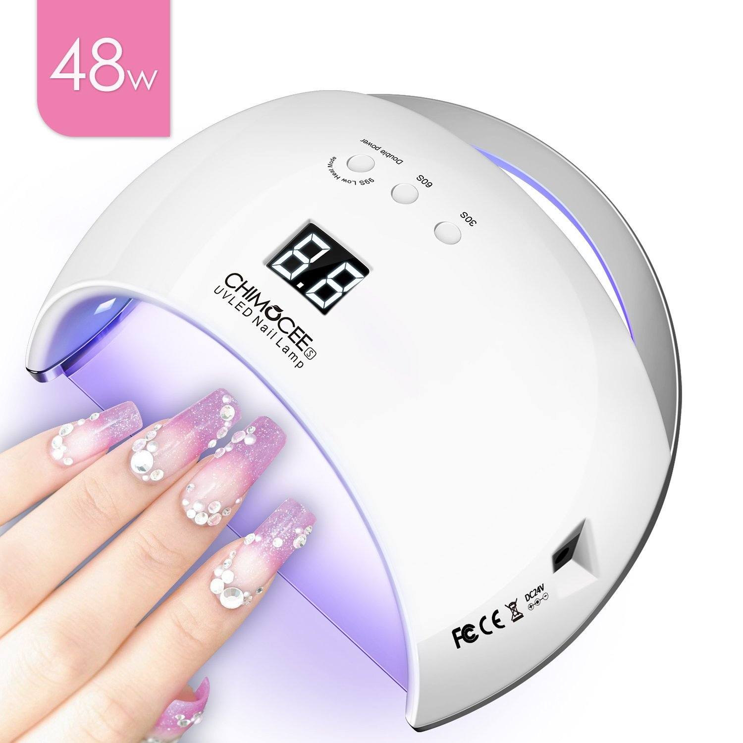 48W UV Led Nail Dryer, Chimocee Smart Curing Lamp, Auto Sensor Nail Gel Polish Dryer With 4 Timer Setting, Professional For All Brand Type (White)