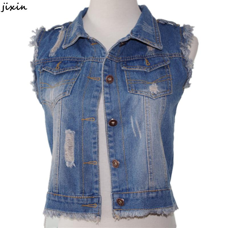 Summer Style Fashion Women Vintage Single Breasted Break Waistcoat Female Sleeveless Short Denim Vest