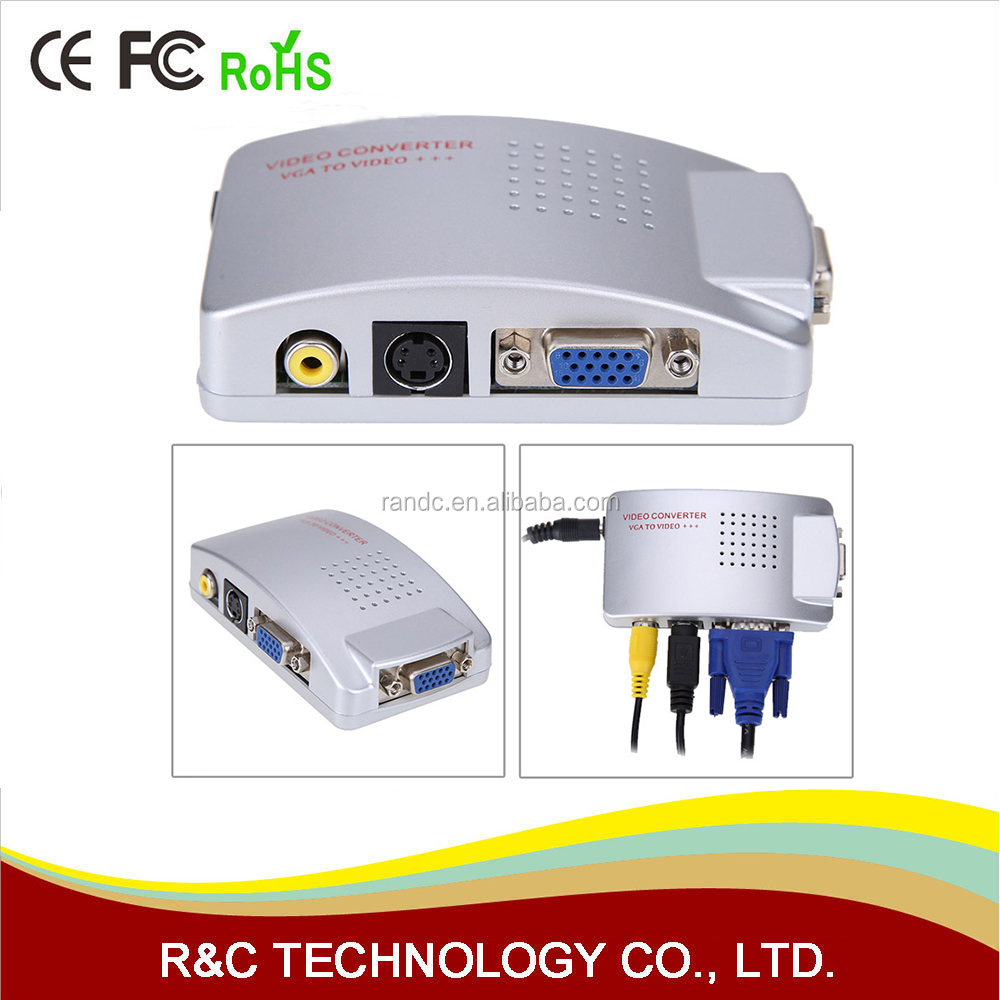PC TO TV Adapter VGA to AV RCA TV Monitor S-Video Signal Converter Adapter Switch Box PC Laptop