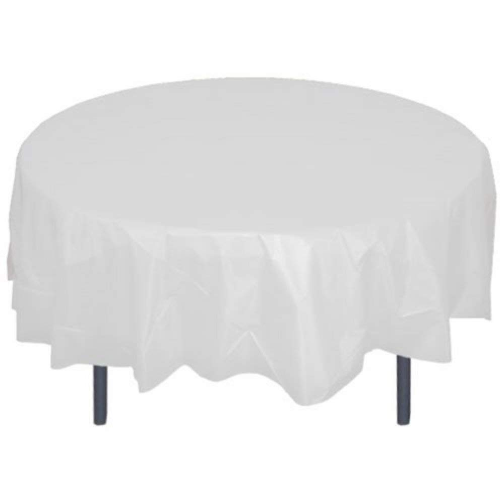 "HOMEE Plastic Tablecloth 84"" Premium Round Table Cover Disposable Table Protector Cover for Party Wedding and Banquet - 12 Pack (White)"