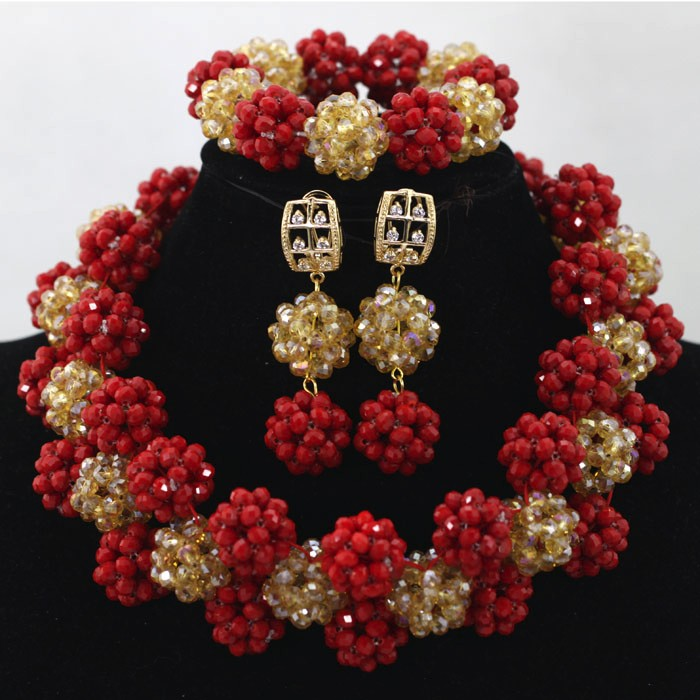 Latest Design African Wedding Beads Jewelry Set Nigerian Beads ...