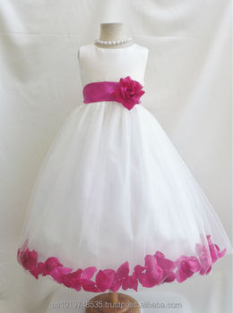 516962c58 Hot sale Rose Petal style ivory dress with colorful sash and petals flower  girl dress children