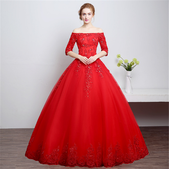 Red And White Wedding Dress.2019 Vestidos De Novia Silhouette Off Shoulder Half Sleeves Crystal Embellished Red And White Wedding Dress Ball Gown Buy White Ball Gowns With