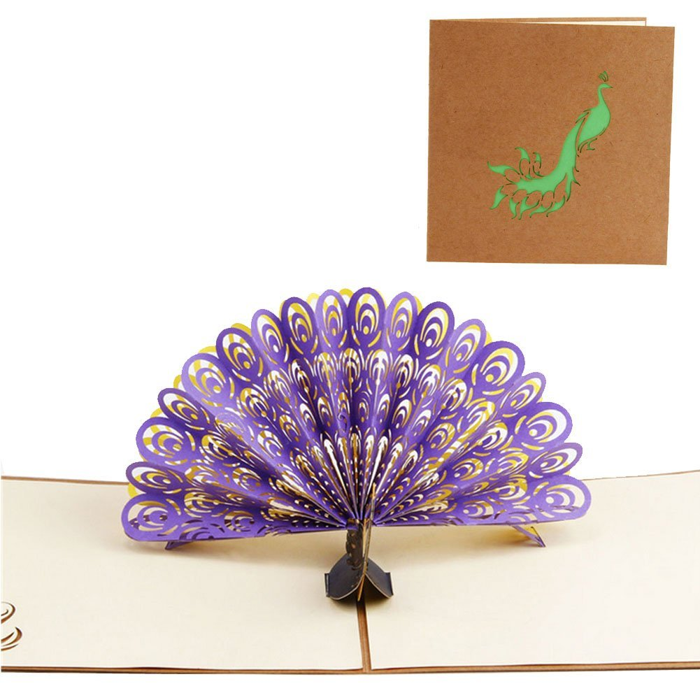 Buy Lays Peacock Greeting Card 3d Handmade Pop Up For Anniversary