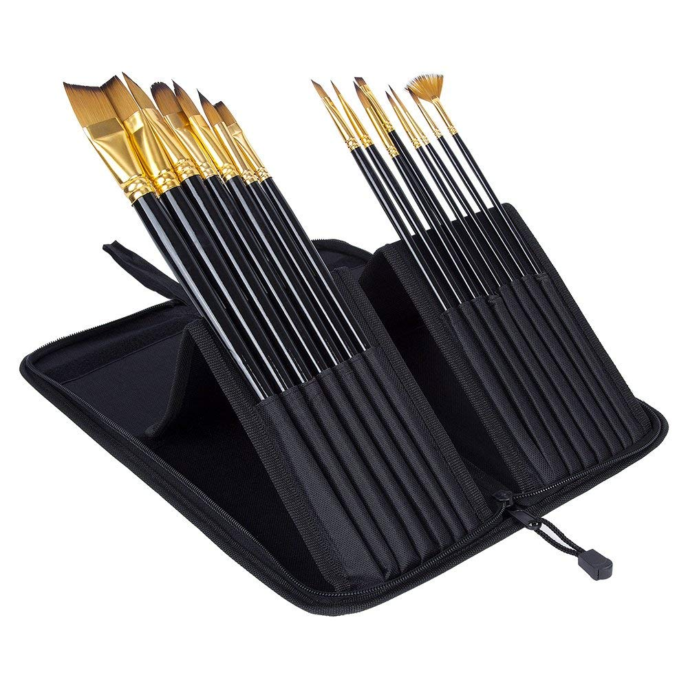 Professional Artist Paint Brush Set 15pcs Different Shape Anti-Shedding Nylon Hair Paint Brushes Suitable for Acrylic, Watercolor, Oil & Face Painting