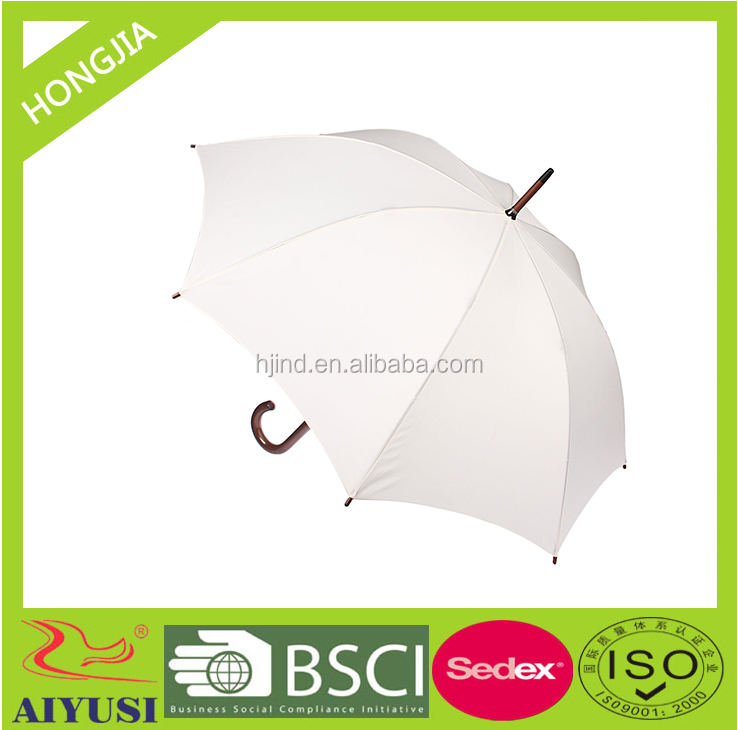straight wooden hook handle white color umbrella good for advertising made in xiamen